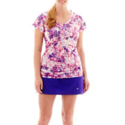 Xersion™ Print Mesh Ruched T-Shirt or Skort - Plus