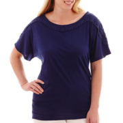 a.n.a® Dolman-Sleeve Crochet Trim T-Shirt - Plus