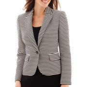 Black Label by Evan-Picone One-Button Striped Jacquard Jacket