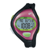ASICS® Womens Running 100-Lap Black/Pink Chronograph Sport Watch