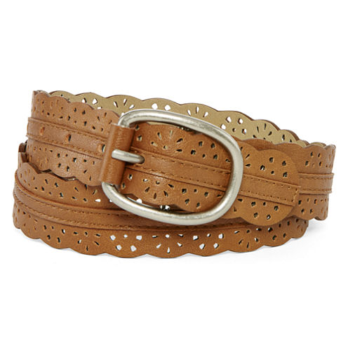 Relic® Brown Scalloped Perforated Belt