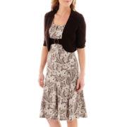 Perceptions 2-pc. Elbow-Sleeve Paisley Print Knit Jacket Dress