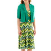 Perceptions 2-pc. Elbow-Sleeve Chevron Print Knit Jacket Dress