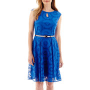 London Times® Cap-Sleeve Lace Belted Fit-and-Flare Dress