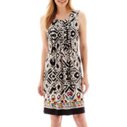 Perceptions Sleeveless Knit Pleated-Front Aztec Print Shift Dress