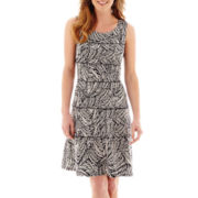Perceptions Sleeveless Palm Print Tiered Fit-and-Flare Dress