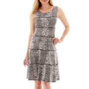 Perceptions Sleeveless Dot Print Tiered Fit-and-Flare Dress