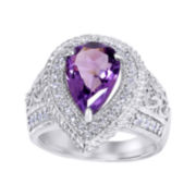 Genuine Amethyst and Lab-Created White Sapphire Sterling Silver Teardrop Ring