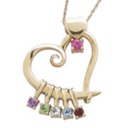 Mom Birthstone 14K Yellow Gold Over Silver Heart Slider Pendant Necklace