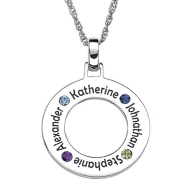 jcpenney.com | Personalized Family Name and Birthstone Sterling Silver Circle Pendant Necklace