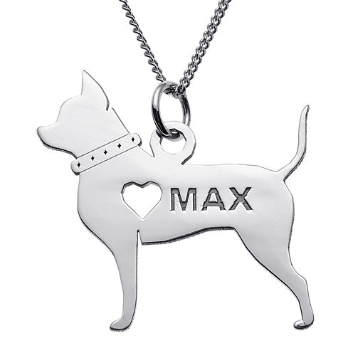 Personalized Chihuahua Sterling Silver Pendant Necklace