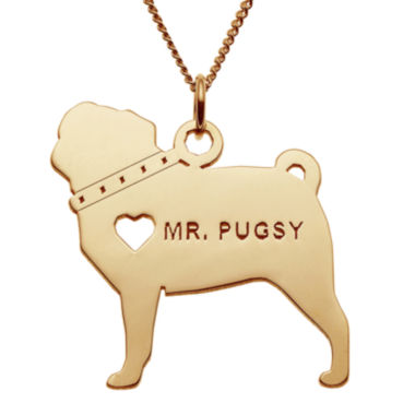 jcpenney.com | Personalized Pug 14K Yellow Gold Over Sterling Silver Pendant Necklace