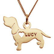 Dachshund 14K Yellow Gold Over Sterling Silver Personalized Pendant Necklace