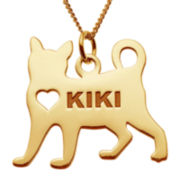 Cat 14K Yellow Gold Over Sterling Silver Personalized Pendant Necklace
