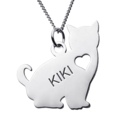jcpenney.com | Personalized Sitting Cat Sterling Silver Pendant Necklace