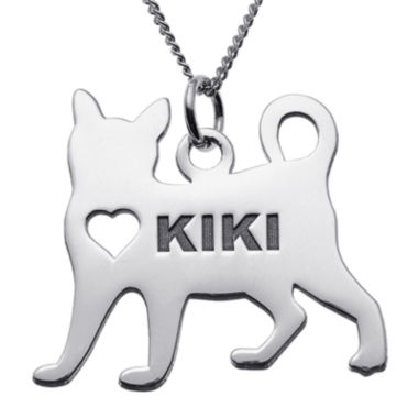 jcpenney.com | Personalized Standing Cat Sterling Silver Pendant Necklace