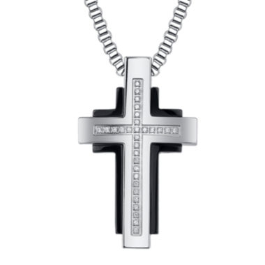 jcpenney.com | Mens Diamond-Accent Two-Tone Stainless Steel Cross Pendant Necklace
