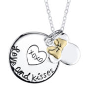 Disney Minnie Mouse Love & Kisses Sterling Silver Pendant Necklace