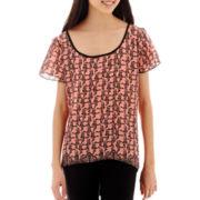 Trixxi® Short-Sleeve Paisley Print Bordered X-Back Top