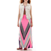 Arizona Destructed Denim Vest or Placed Print Maxi Dress