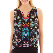 nicole by Nicole Miller® Sleeveless Print Top with Sheer Detail