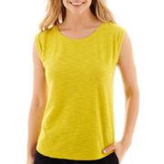 Liz Claiborne® Sleeveless Cuffed Textured T-Shirt