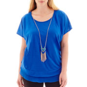 Alyx® Short-Sleeve Chiffon-Trim Knit Top with Necklace - Plus