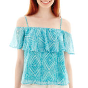 Decree® Short-Sleeve Off-the-Shoulder Ruffle Top
