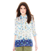Joe Fresh™ 3/4-Sleeve Roll-Tab Mixed Print Shirt