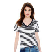 Joe Fresh™ Short-Sleeve V-Neck Striped T-Shirt