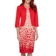 Maya Brooke Speckled-Print Solid Jacket Dress