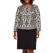 Isabella 2-pc. Long-Sleeve Jacquard Skirt Set - Plus