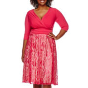 Signature by Sangria Elbow-Sleeve Lace Skirt Fit-and-Flare Dress - Plus