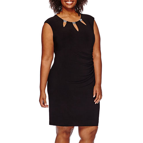 Scarlett Sleeveless Embellished Cut-Out Neck Ruched Dress - Plus