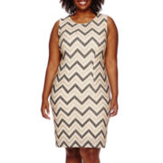 Scarlett Sleeveless Glitter Chevron Sheath Dress - Plus