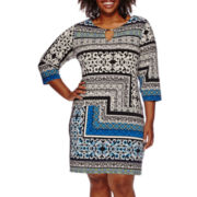 Tiana B 3/4-Sleeve Printed Keyhole Dress - Plus