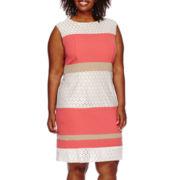 Studio 1® Sleeveless Lace Stripe Sheath Dress - Plus