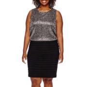 Scarlett Sleeveless Metallic Blouson Dress - Plus