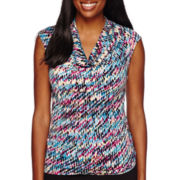 Black Label by Evan-Picone Sleeveless Abstract Print Cowlneck Blouse