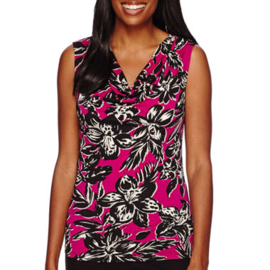 jcpenney.com | Black Label by Evan-Picone Sleeveless Palm Print Cowlneck Blouse