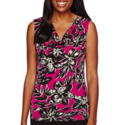 Black Label by Evan-Picone Sleeveless Palm Print Cowlneck Blouse