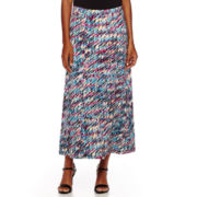 Black Label by Evan-Picone Abstract Print Maxi Skirt