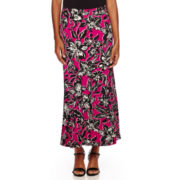 Black Label by Evan-Picone Palm Print Maxi Skirt