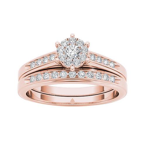 1/2 CT. T.W. Diamond 10K Rose Gold Bridal Set Ring