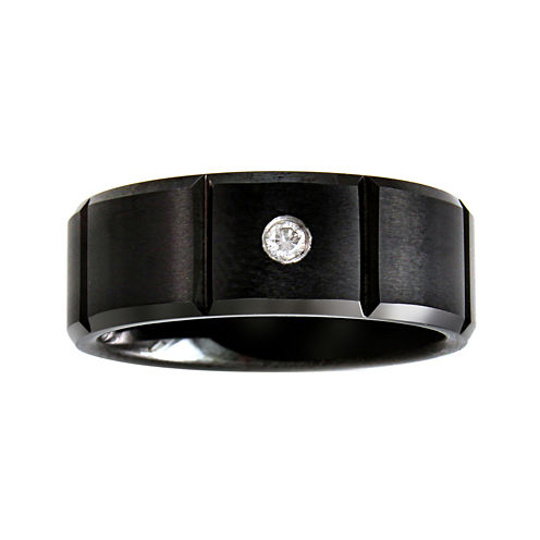 Mens Diamond-Accent Black Wedding Band