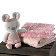 Lolli Living Chevron Blanket, Muslin Jacquard Blanket and Plush Toy - Pink