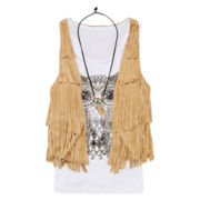Beautees 3-pc. Graphic Tank Top with Fringe Vest and Necklace - Girls 7-16