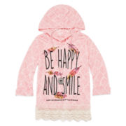 Beautees 3/4-Sleeve Lace Trim Hoodie with Necklace - Girls 7-16