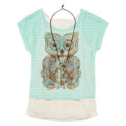 Beautees 3-pc. Lace Tank Top with Striped Graphic Tee and Necklace - Girls 7-16