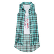 Beautees 3-pc. Graphic Tank Top with Sleeveless Button-Front Shirt and Necklace - Girls 7-16